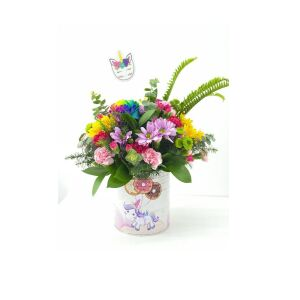 Rainbow arrangement with unicorn vase